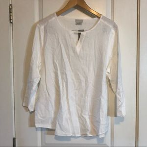 🟠NWT VAN HEUSEN Linen 3/4 White Blouse XL
